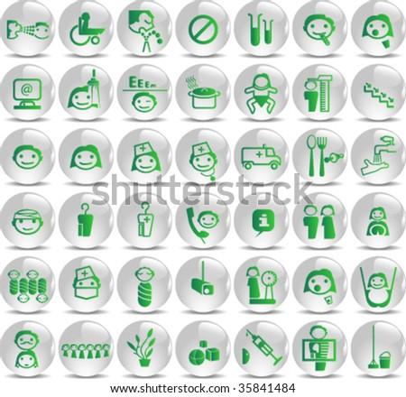 Set of icons for kindergarten or children hospital