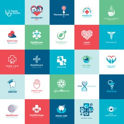 Set of icons for medicine, healthcare, pharmacy, veterinarian, dentist