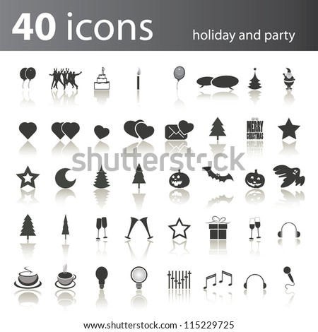 Set of 40 Icons for Party and Holidays