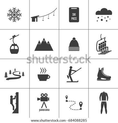 Set of icons for ski and winter sports. Design for tourist catalog, maps of the ski slopes, placard, brochure, flyer, booklet. Vector illustration.