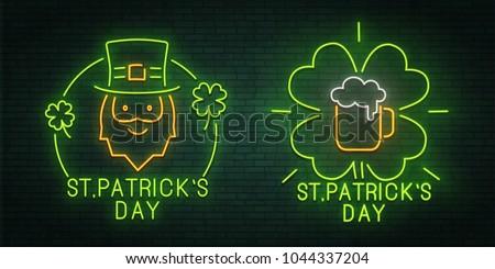 Set of icons for St. Patrick's Day holiday. Mug of beer.  Clover. Neon sign. logo, emblem and label. banner. Set. Vector illustration