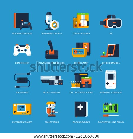 Set of icons for the video game store. Old and new consoles, games, books, VR devices, accessories.