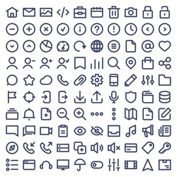 Set of 100 icons for Ui and web. Vector line icons.