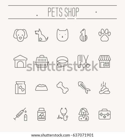 set of icons for vet clinic