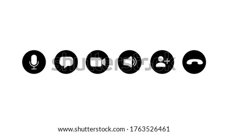 Set of icons for video conferencing, instant messengers. Vector illustration