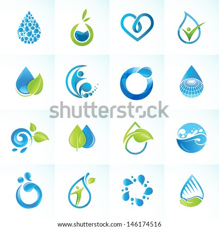 set of icons for water and