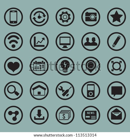 Set of icons For Web and Design Elements - social media vector icons - stock vector
