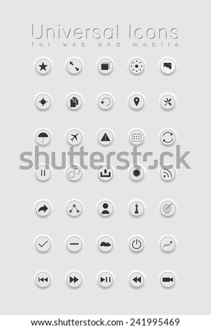 set of icons for web and user