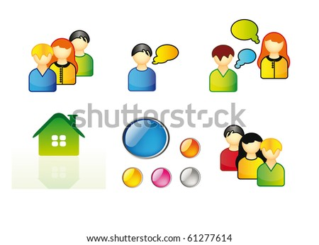 set of icons for web, network and computer  - young people, home icon and buttons isolated over white background