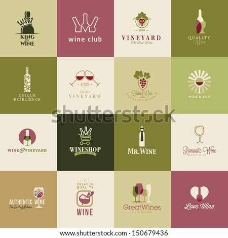 set of icons for wine  wineries