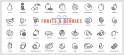 Set of icons fruits and berries. Outline illustration vector. Pictogram for web page, mobile app, promo. UI UX GUI design element. Editable stroke. Vector.