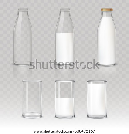 Set of icons glasses and bottles with a milk