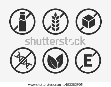 Set of icons: Gluten Free, Lactose Free, GMO Free, Paraben, Food additive, Sugar free.