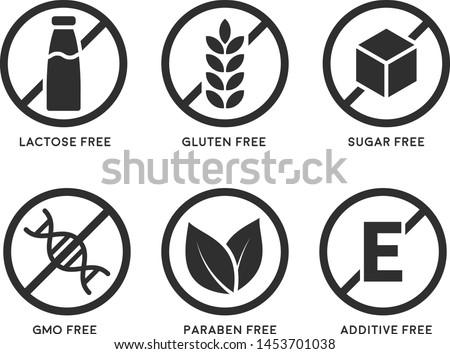 Set of icons: Gluten Free, Lactose Free, GMO Free, Paraben, Food additive, Sugar free. Vector illustration.