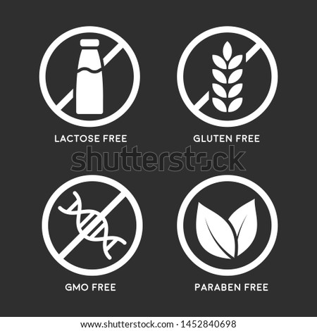Set of icons: Gluten Free, Lactose Free, GMO Free, Paraben free. Vector illustration.