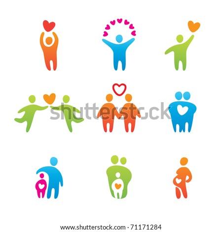 set of icons - happy people