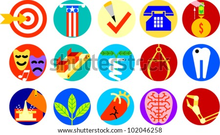 Set of icons illustrating various objects and concepts