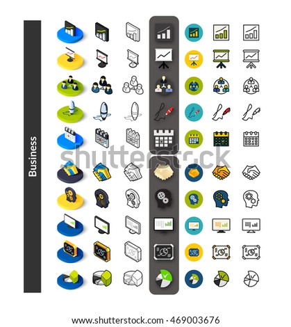 Set of icons in different style - isometric flat and otline, colored and black versions, vector symbols - Business collection