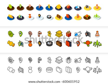 set of icons in different style