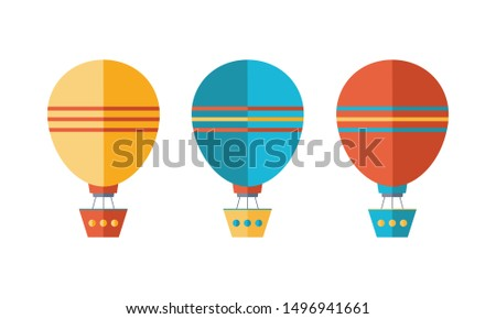 Set of icons in flat style. Yellow, blue and red air balloon, aerostat. Travel by air transport. Isolated objects on white background