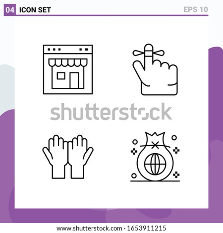 set of 4 icons in line style