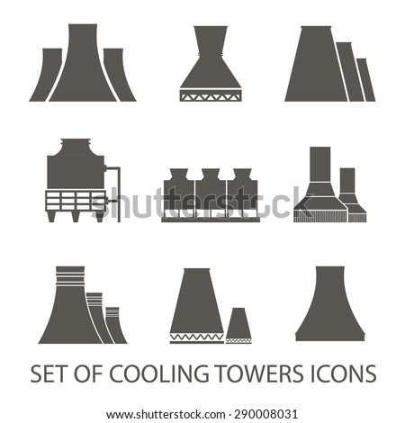 Set of icons in the form of cooling towers. Vector illustration. Silhouette icons Stock photo ©