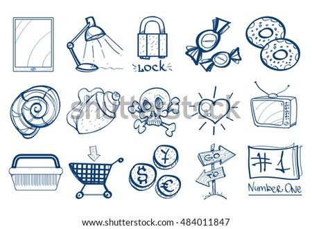 set of icons in the hand