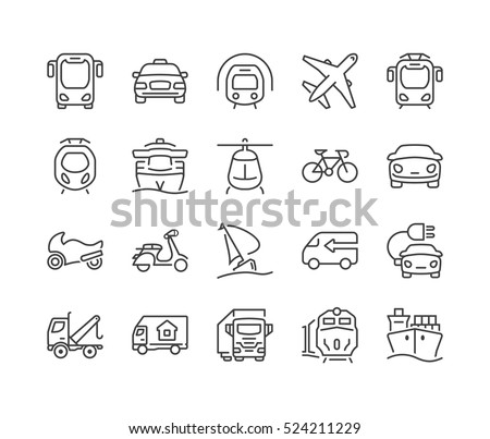 set of icons isolated for logistics,delivery and transportation public and private