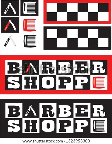 Set of icons, logo, and logotype for a barber shop. Use what you need to design an eye-catchy sign and add character to a barber shop.