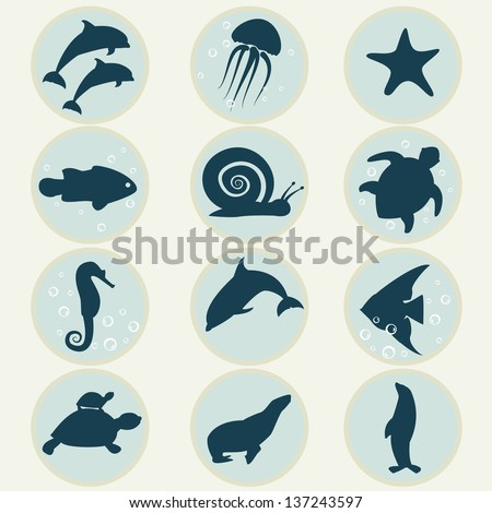 Set of icons marine life.