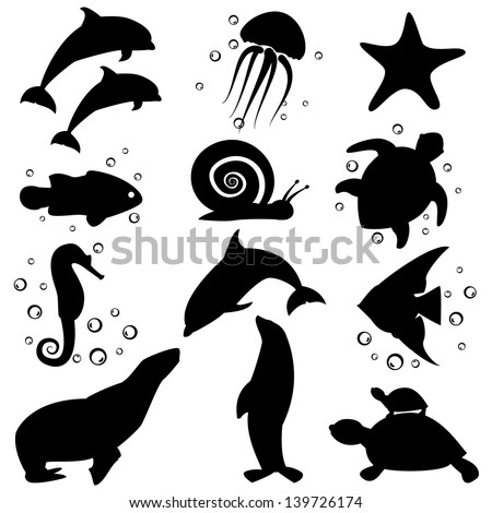 set of icons marine life