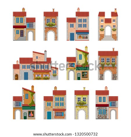 set of icons of architectural two-storey buildings in the style of French Provence, stone houses with a red tile roof, shops, stairs, windows, doors
