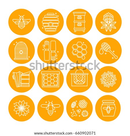 set of icons of beekeeping