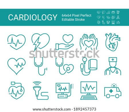 Set of icons of cardiology. Vector icon as ecg, doctor, pacemaker, heartbeat, heart outline pictogram. Editable vector stroke. 64x64 Pixel Perfect. Photo stock ©