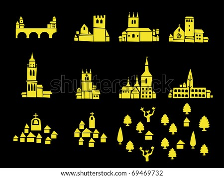 Set of icons of castles, houses and mansions