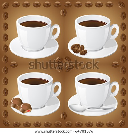 set of icons of cups with coffee vector illustration