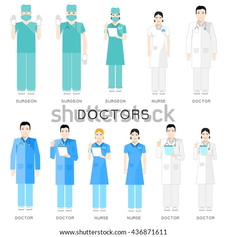 set of icons of doctors and