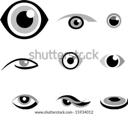 set of  icons of eye, black and white - stock vector
