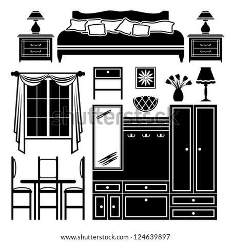set of icons of furniture