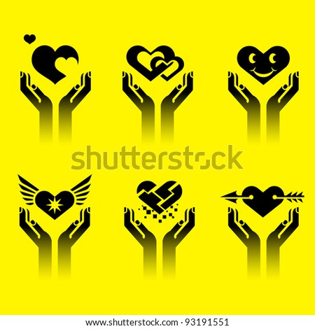 set of icons of heart with hand