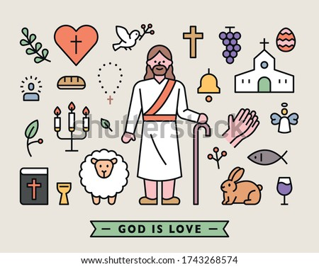 Set of icons of Jesus characters and various symbols in the Bible. flat design style minimal vector illustration.