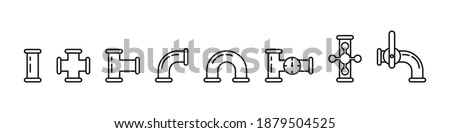 Set of icons of pipes, valves, taps, pipe connectors isolated on white background. Water, fuel or gas supply system, oil refinery industry pipeline, house sewer bolted sections. Vector illustration  Сток-фото ©