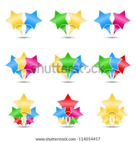 Set of icons of stars, design elements for your logo, vector eps10 illustration