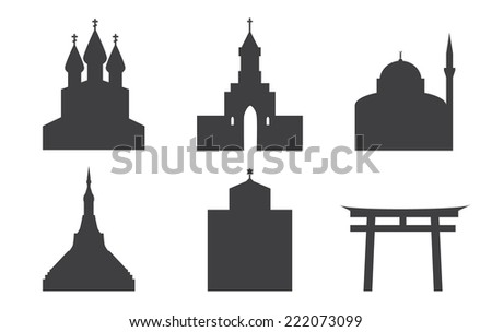 set of icons of temples