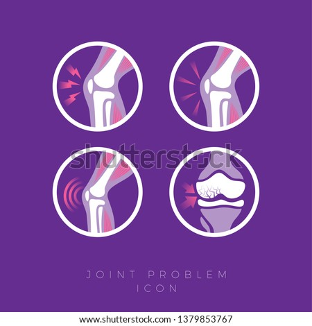 Set of icons of the joints and their treatment Cartilage damage, arthritis, osteoarthritis, restoration of cartilage pain relief icons. Flat icons in a round frames.
