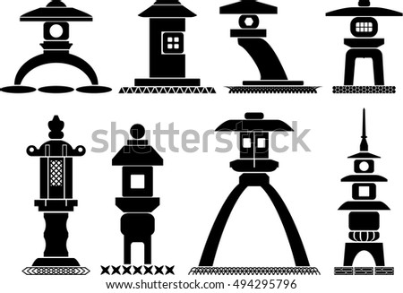 set of icons of traditional