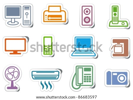 Set of icons office equipment on stickers