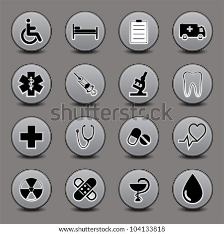 Set of icons on a medical subject, a round form, in gray tones. EPS10 vector.