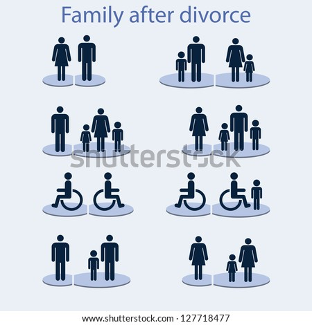 Set of icons on a theme: a family with a disabled person.