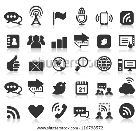 Set of icons on a theme communication. A vector illustration - stock vector